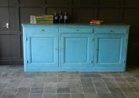 Blue Painted Pine Kitchen Cupboard Unit