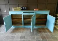 Blue Painted Pine Kitchen Cupboard Unit