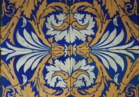 Set of 8 Original Decorative Glazed Minton Tiles