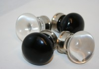 Black Glass/Nickel Cupboard Knob