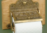 Ornate Brass and Wood Toilet Roll Holder