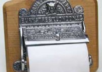 Ornate Nickel and Wood Toilet Roll Holder